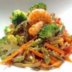 Wok de verduras y Langostinos