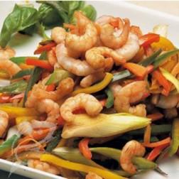 Wok de verduras y Camarones ecuatorianos
